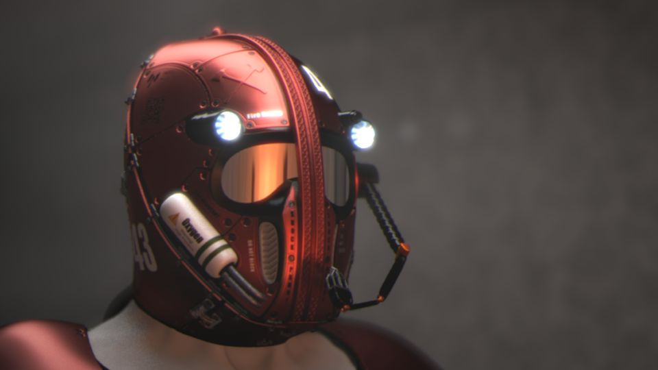Futuristic Firefighter Helmet Concept with LED Headlamps